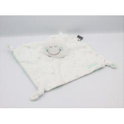 Doudou plat Smiley Baby blanc vert étoiles ORCHESTRA PREMAMAN