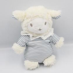 Doudou mouton blanc bleu rayé AVENE PEDIATRIL