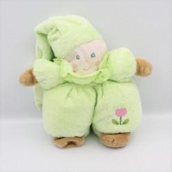 Doudou poupée lutin vert fleur grelot AJENA