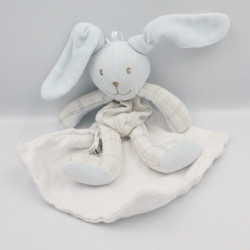 Doudou plat lapin bleu carreaux mouchoir BERLINGOT