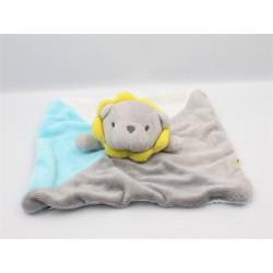 Doudou plat lion gris bleu blanc jaune OBAIBI