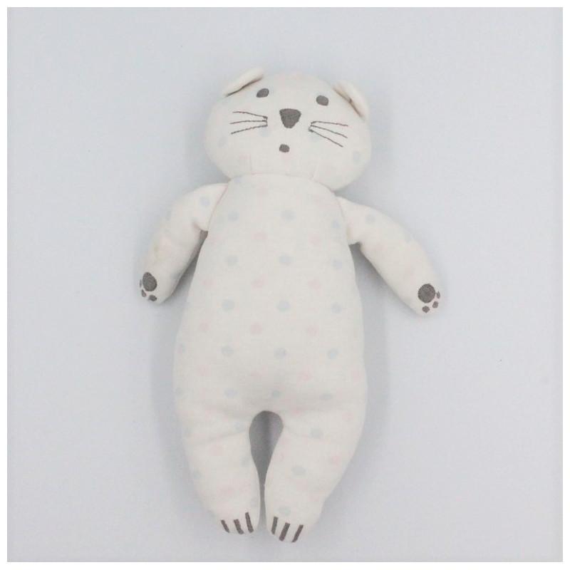Doudou chat blanc pois JACADI
