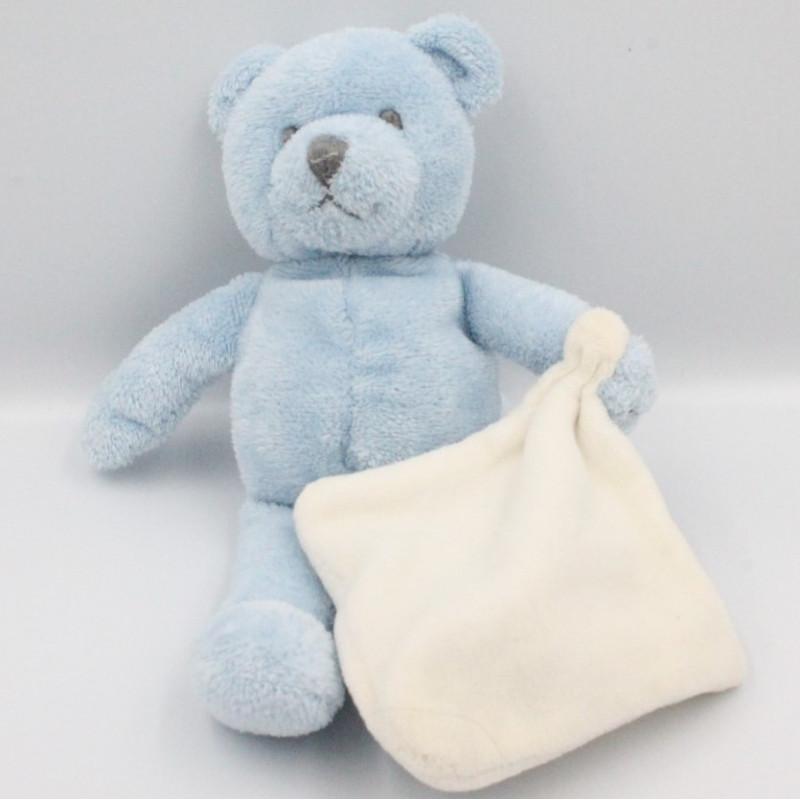 Doudou ours bleu mouchoir blanc JACADI
