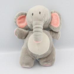 Doudou musical éléphant gris rose BABYLOVE
