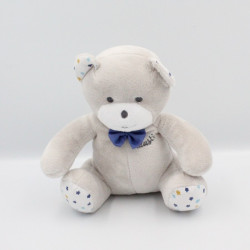 Doudou ours gris bleu blanc étoiles Musti Mustela