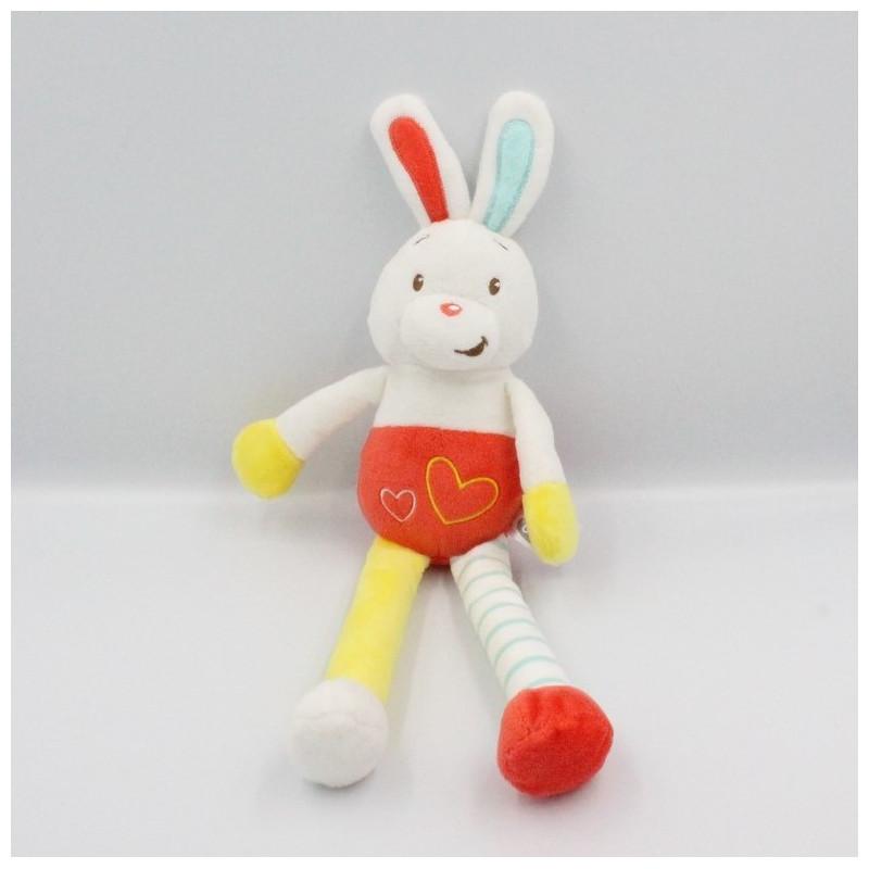 Doudou lapin blanc rouge jaune bleu coeurs AUCHAN BABY
