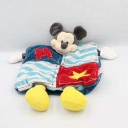 Doudou plat marionnette Mickey bleu rouge jaune DISNEY BABY