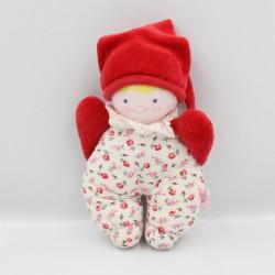 Doudou poupée lutin rouge blanc fleurs COROLLE