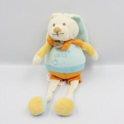 Doudou musical Lapin blanc bleu jaune orange Baby nat