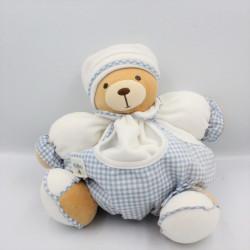 Doudou patapouf ours blanc vichy bleu KALOO