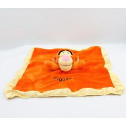 Doudou plat Tigrou Tigger orange jaune satin DISNEY