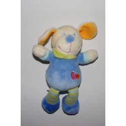 Mini Doudou chien bleu coeur brodé VETIR