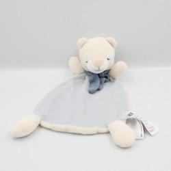 Doudou plat ours blanc écru bleu rayé H&M H et M