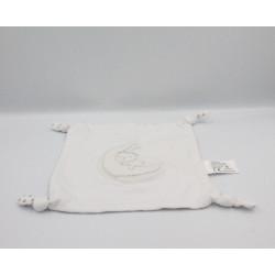 Doudou plat carré blanc ours lune étoiles CARREFOUR CMI