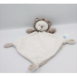 Doudou plat ours hérisson blanc marron TEX BABY
