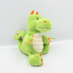 Doudou dragon vert orange KINDER