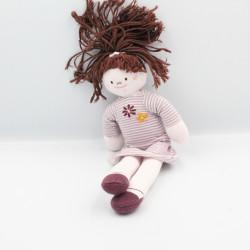 Doudou poupée fillette prune robe rayé fleur PETIT BATEAU