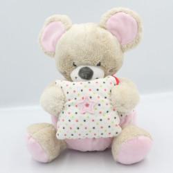 Doudou musical souris beige rose étoiles MOTS D'ENFANTS