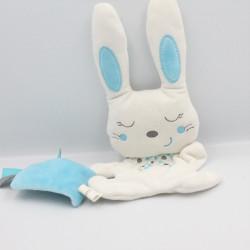 Doudou lapin blanc bleu pois mouchoir Double Face NICOTOY