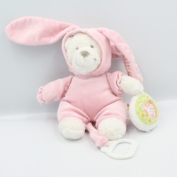 Doudou musical ours lapin blanc rose vichy oiseau NICOTOY