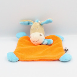 Doudou plat ane cheval beige orange bleu CP INTERNATIONAL