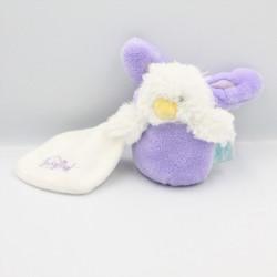 Petit Doudou poussin mauve violet mouchoir déguisé en lapin BABY NAT