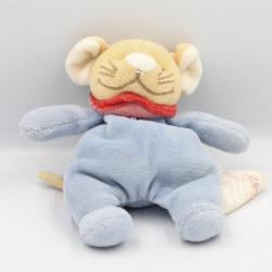 Mini Doudou souris bleu col rouge BENGY