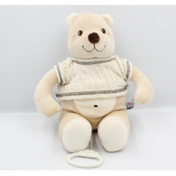 Doudou musical ours beige blanc pull laine SUCRE D'ORGE