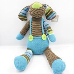 Doudou chien marron bleu vert velours SIA KIDS