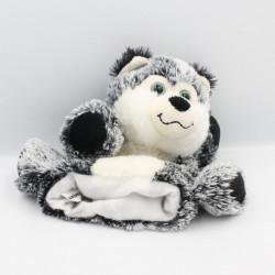 Doudou marionnette chien loup gris blanc ANIMA