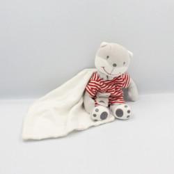 Doudou ours gris blanc rouge rayé mouchoir BERLINGOT