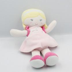 Doudou poupée blande robe rose chat SUCRE D'ORGE