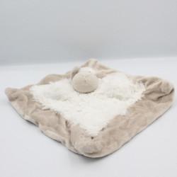 Doudou plat mouton beige blanc EURODIF