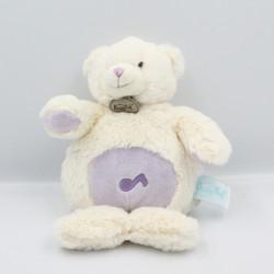 Doudou musical ours Calins blanc mauve BABY NAT