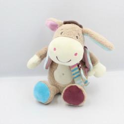Doudou musical ane poney cheval beige rose bleu BABYSUN