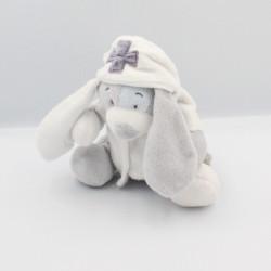 Doudou chien gris mauve bleu blouse blanche Arthur NOUKIE'S