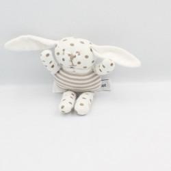 Doudou petit lapin blanc à pois VERTBAUDET