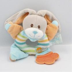 Doudou hochet lapin bleu orange blanc rayé BABY NAT