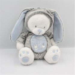 Doudou ours lapin gris bleu blanc étoiles MOTS D'ENFANTS