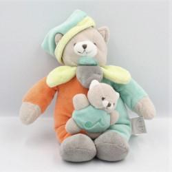 Doudou et compagnie musical ours gris bleu vert orange bébé