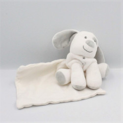 Doudou chien blanc gris étoiles mouchoir SUCRE D'ORGE