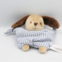 Doudou chien semi plat chien beige marron carreaux bleu JACADI