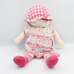Doudou poupée chiffon robe blanche rose fleurs COROLLE