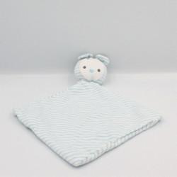 Doudou plat ours souris blanc rayé bleu OBAIBI OKAIDI