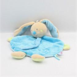 Doudou plat lapin beige bleu vert tortue SUCRE D'ORGE