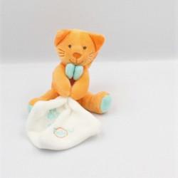 Doudou chat orange bleu mouchoir BABY NAT