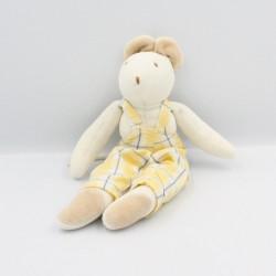 Doudou souris blanche salopette carreaux jaune JACADI