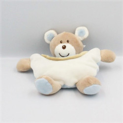 Doudou semi plat ours beige bleu blanc AJENA