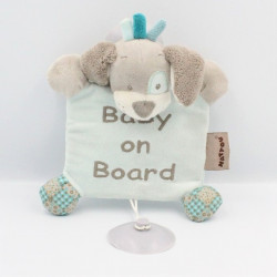 Doudou chien bleu gris BABY ON BOARD NATTOU