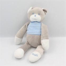 Doudou ours gris blanc bleu rayé Musti Mustela